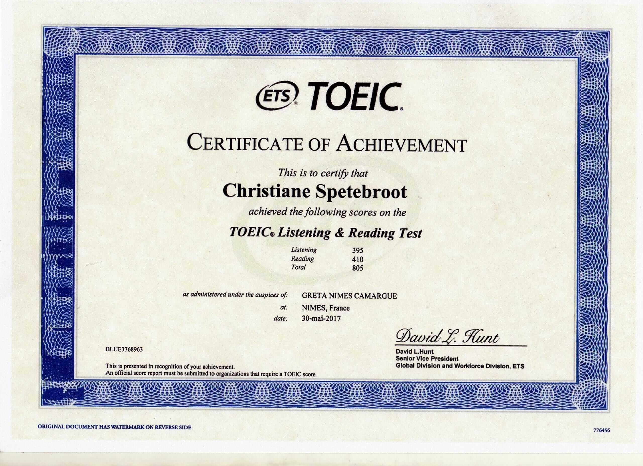 My english certificate