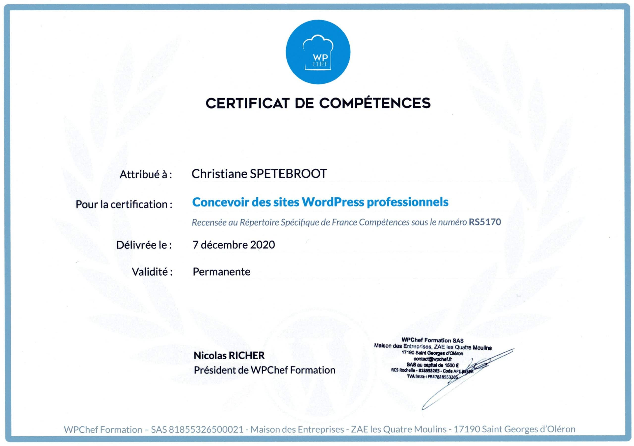 My certificate in site edition